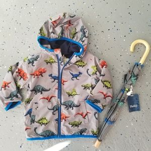 Hatley - Zip Up Dinosaur Microfiber Rain Jacket